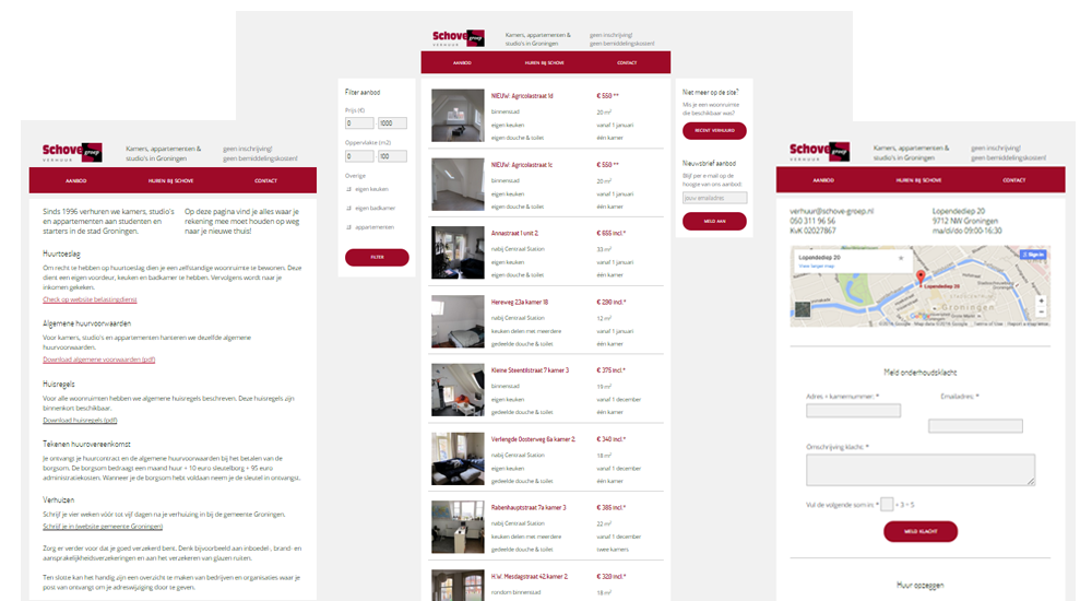 Three screenshots of pages. The left one shows a page with text about the company and the rent process. The middle one shows the homepage with housing listings, a search filter on the left and a newsletters sign-up and link to already rented housing objects at the right of the page. The most right page shows the contact page with a map and contact form.