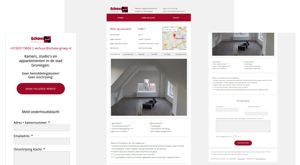 Again three screenshots of pages. The left shows the smartphone version with contact details and a form to file housing complaints. The middle page shows the details of an housing object, with pictures of it in the center, the location in a map and details in tables. The right page shows the bottom of a details page, with a form to request an appointment to visit the housing object.