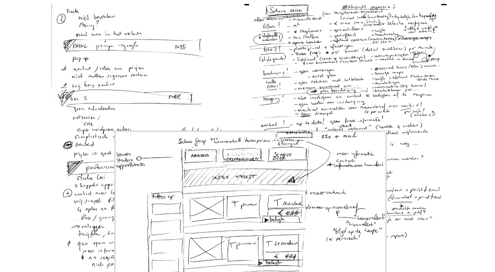 A sketch showing writings of interview results, requirements based on those and a wireframe of the eventual design.