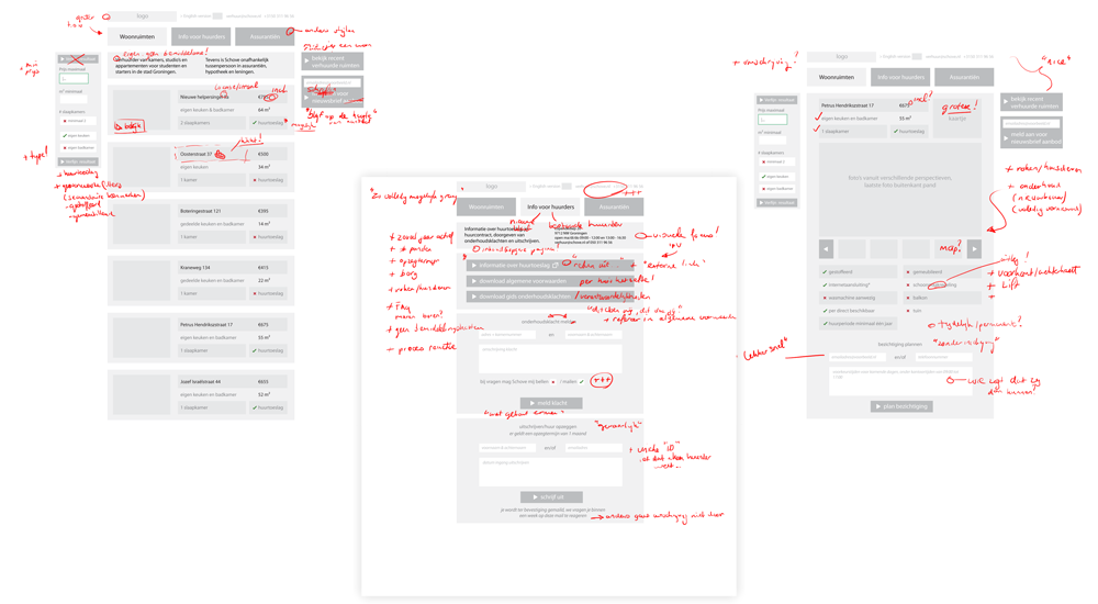 This image shows some of the screens from the wireframe with written comments detailing necessary improvements.